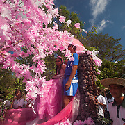 Barangay beauty queen on a barangay float in the Balayong Festival parade.The festival at the beginning of March commemorates the founding anniversary of the City of Puerto Princesa, Palawan, highlighted by balayong tree-planting, street dancing and a colourful floral parade depicting the Palawan Cherry Blossoms from which the festival derives its name. The Palawan cherry is one of the most popular flowering trees in Palawan and known by the locals as the Balayong, a beautiful tree that when it is in full bloom resembles the cherry blossoms of Japan.