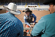 02 NOVEMBER, 2008 -- PHOENIX, AZ:  A bareback competitor waits to ride at the Arizona High School Rodeo at the Arizona State Fair in Phoenix. Teams from across the state participate. The Arizona High School Rodeo Association sponsors a full season of high school rodeo that culminate in a championship rodeo in June.  PHOTO BY JACK KURTZ