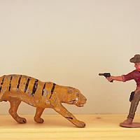 Model tiger and cowboy