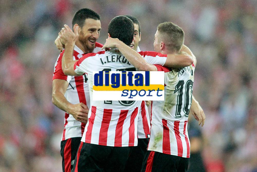 Athletic Club de Bilbao's Aritz Aduriz, Inigo Lekue, Xavier Etxeita and Iker Muniain celebrate goal during Europa League Play-off, 2nd leg. August 24,2017. (ALTERPHOTOS/Acero)