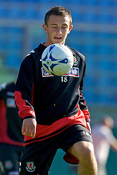 Serravalle, San Marino - Tuesday, October 16, 2007: Wales' Neal Eardley training at the Serravalle Stadium ahead of the Group D UEFA Euro 2008 Qualifying match against San Marino. (Photo by David Rawcliffe/Propaganda)
