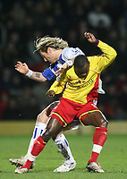 Photo: Marc Atkins.<br /> Watford v Blackburn Rovers. The Barclays Premiership. 23/01/2007. Robbie Savage (L) of Blackburn Rovers challenges Al Bangura of Watford which results in a broke leg for Savage.