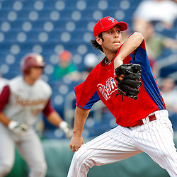 February 24, 2011; Clearwater, FL, USA; Philadelphia Phillies pitcher Micahel Stutes throws a pitch during spring training exhibition game against Florida State University at Bright House Networks Field. Mandatory Credit: Derick E. Hingle