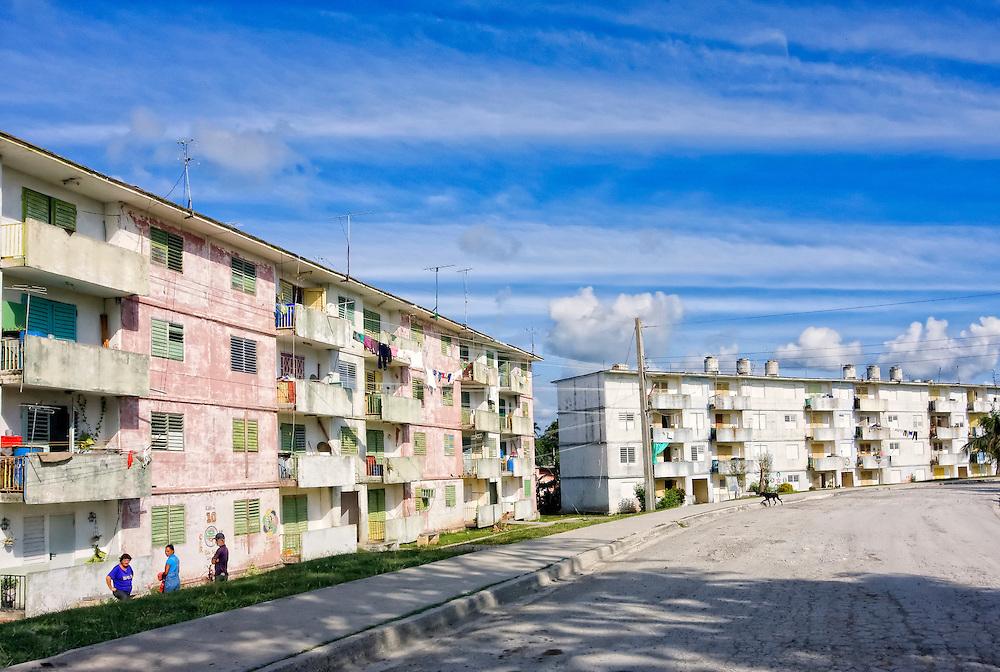 Apartment buildings in Cabanas, Artemisa, Cuba.