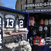 Official team merchandise on sale at the Yankee Store outside the ground during the New York Yankees V Los Angeles Angels Baseball game at Yankee Stadium, The Bronx, New York. 15th March 2012. Photo Tim Clayton