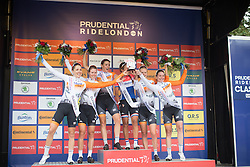 Rabo-Liv Cycling Team celebrates winning the best team's title after the Prudential RideLondon Classique, a 66 km road race in London on July 30, 2016 in the United Kingdom.