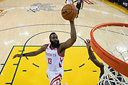 April 30, 2019; Oakland, CA, USA; Houston Rockets guard James Harden (13) shoots the basketball against the Golden State Warriors during the second half in game two of the second round of the 2019 NBA Playoffs at Oracle Arena. The Warriors defeated the Rockets 115-109.