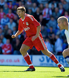 BIRKENHEAD, ENGLAND - Saturday, July 12, 2008: Liverpool's captain Steven Gerrard MBE during his side's first pre-season match of the 2008/2009 season against Tranmere Rovers at Prenton Park. (Photo by David Rawcliffe/Propaganda)