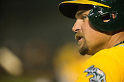 Oakland Athletics designated hitter Billy Butler (16) waits in the on-deck circle against the Baltimore Orioles at Oakland Coliseum in Oakland, Calif. on August 8, 2016. (Stan Olszewski/Special to S.F. Examiner)