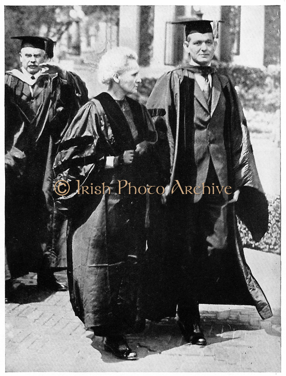 Marie CURIE (1867-1934) Polish-born French physicist during her tour of the United States in 1921 with Dean Pegram of the School of Engineering, Columbia University