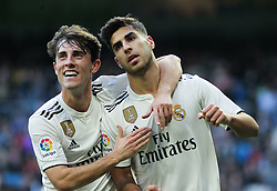 December 6, 2018 - Madrid, Madrid, Spain - Asensio and Odriozola l of Real Madrid celebrating a goa during the King Throphy Spanish Championship,  football match between Real Madrid and Melilla on December 06, 2018 at Santiago Bernabeu stadium  in Madrid, Spain. (Credit Image: © AFP7 via ZUMA Wire)