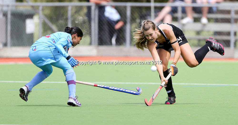 New Zealand's Rose Keddell in the first test between the Black Sticks Women and India played at Park Island, Napier, New Zealand. Saturday, 08 December, 2012. Photo: John Cowpland / photosport.co.nz