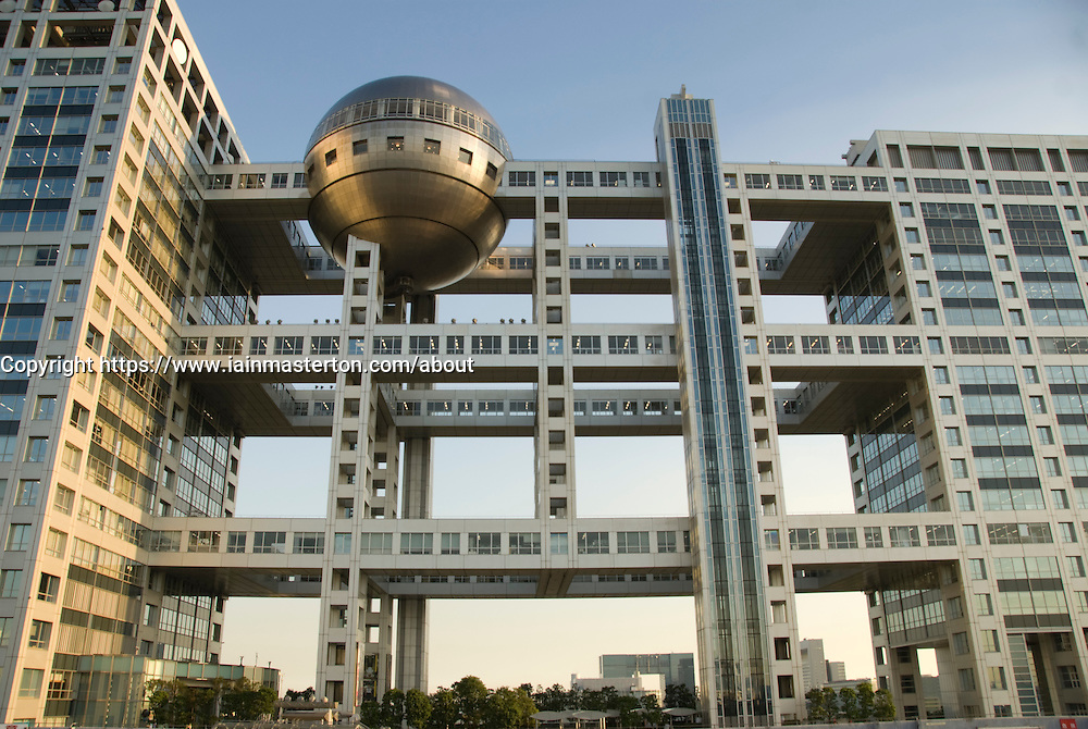Futuristic architecture of Fuji Television Headquarters in Odaiba tokyo