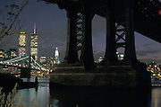Twin Towers at night under Manhattan Bridge