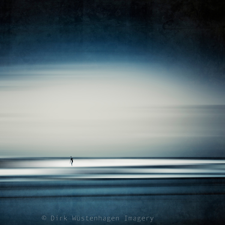 Abstraction of a surfer riding the waves at Contis-Plage, France<br />