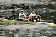 2006 FISA World Cup, Lucerne, SWITZERLAND, 07.07.2006. Men's pair, GBR M2-  bow Colin SMITH and Tom JAMES.  Photo  Peter Spurrier/Intersport Images email images@intersport-images.com.[Friday Morning]...[Mandatory Credit Peter Spurrier/Intersport Images... Rowing Course, Lake Rottsee, Lucerne, SWITZERLAND.