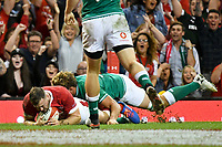 Rugby - 2019 pre-Rugby World Cup warm-up (Under Armour Summer Series) - Wales vs. Ireland<br /> <br /> Owen Lane, of Wales scores a try  , at Principality (Millennium) Stadium.<br /> <br /> COLORSPORT/WINSTON BYNORTH