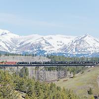 bakken oil train crossing two medicine river tressel glacier national park, east glacier park, montana