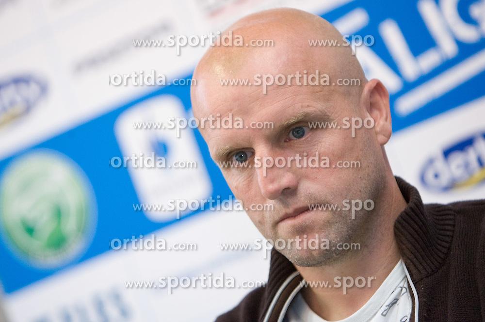 Head coach of NK Olimpija Robert Pevnik at press conference,  on September 29, 2009, in Ljubljana, Slovenia.  (Photo by Vid Ponikvar / Sportida)