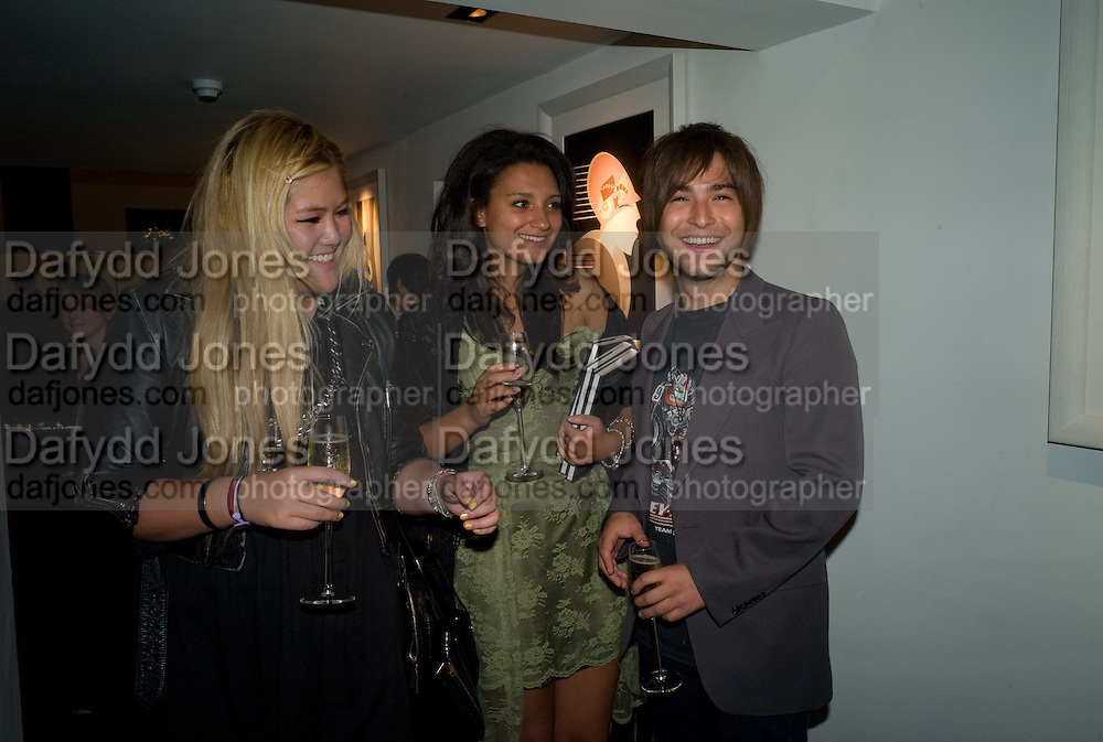 TUI BB; DELILAH KHOMO; SEB BAILEY. Book launch for 'Fashion Victims' the Catty Catalogue of Stylish Casualties by Michael Roberts. Hosted by Vanity Fair and Tim Jefferies. Hamiltons. London. 15 September 2008. *** Local Caption *** -DO NOT ARCHIVE-© Copyright Photograph by Dafydd Jones. 248 Clapham Rd. London SW9 0PZ. Tel 0207 820 0771. www.dafjones.com.