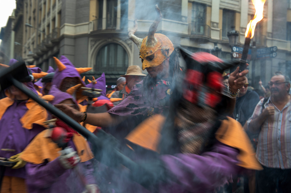 Correfoq (Fire Run, finale of the Festival of La Mercè, Barrio Gotico of Barcelona