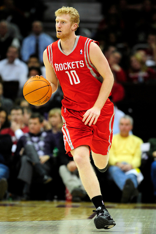 Feb. 23, 2011; Cleveland, OH, USA; Houston Rockets small forward Chase Budinger (10) drives down court during the third quarter against the Cleveland Cavaliers at Quicken Loans Arena. The Rockets beat the Cavaliers 124-119. Mandatory Credit: Jason Miller-US PRESSWIRE