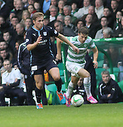 Dundee's Greg Stewart races away from Celtic's Adam Matthews -  Celtic v Dundee, SPFL Premiership at Dens Park<br /> <br />  - &copy; David Young - www.davidyoungphoto.co.uk - email: davidyoungphoto@gmail.com