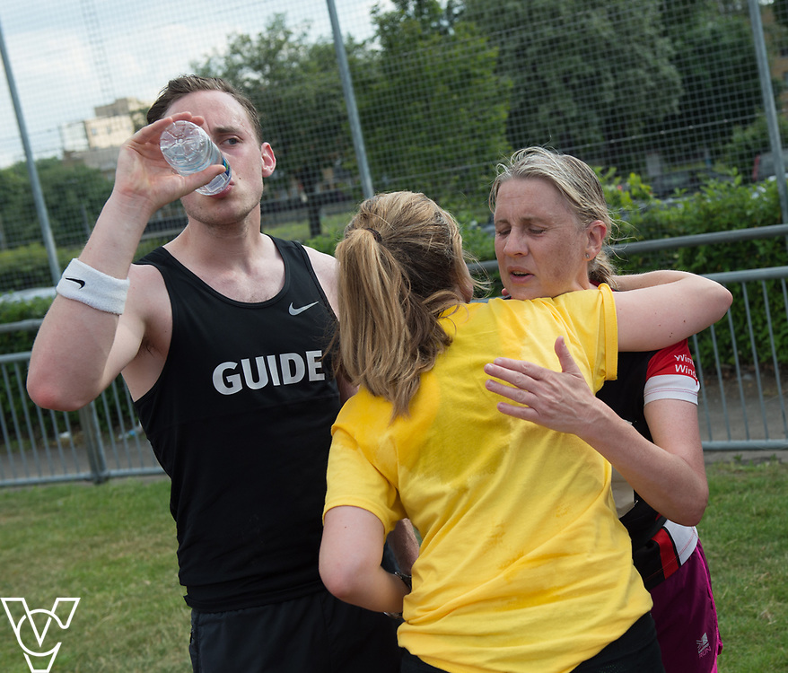 Metro Blind Sport's 2017 Athletics Open held at Mile End Stadium.  5000m.  Lynn Cox with guide runners<br /> <br /> Picture: Chris Vaughan Photography for Metro Blind Sport<br /> Date: June 17, 2017