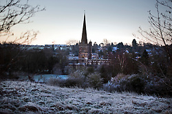 © Licensed to London News Pictures. A frost covered landscape over Buford in Oxfordshire on December 29, 2014 as most of the UK woke to freezing temperatures. Pictured centre is Buford Church. . Photo credit : Ben Cawthra/LNP