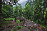 A hiker walks up on the hike towards kheerganga. Pictures from the Parvati valley in Kullu, Himachal Pradesh, India