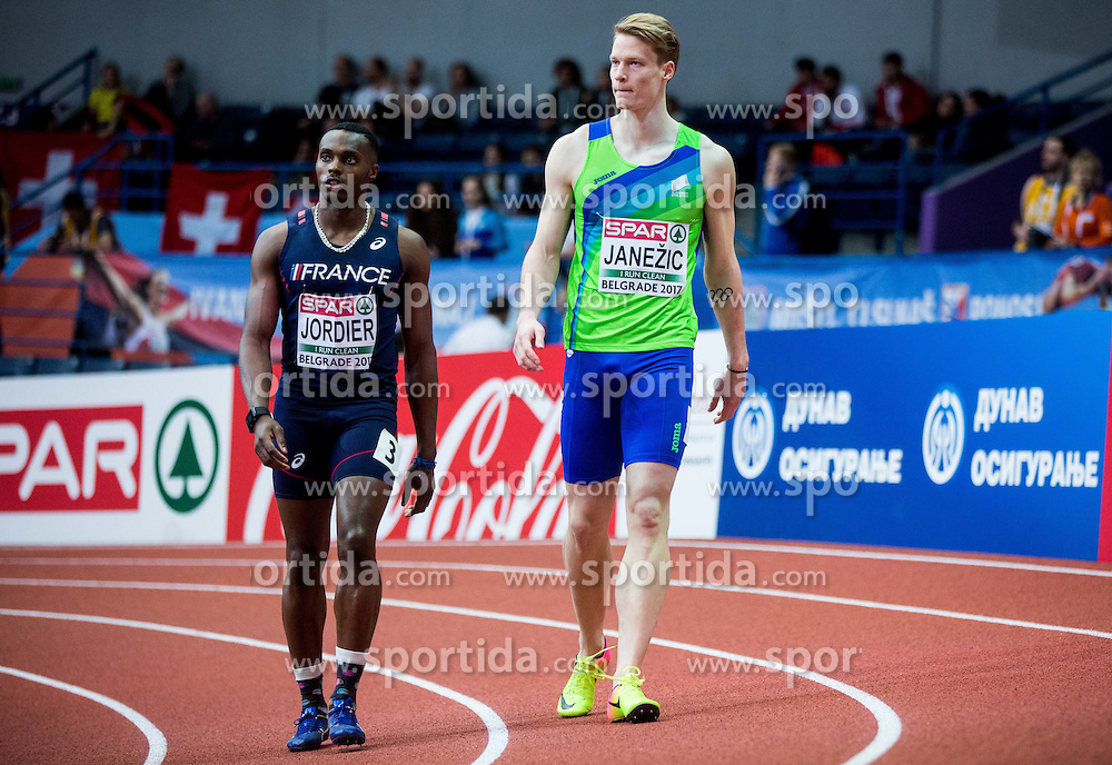 Thomas Jordier of France and Luka Janezic of Slovenia compete in the Men's 400 metres heats on day one of the 2017 European Athletics Indoor Championships at the Kombank Arena on March 3, 2017 in Belgrade, Serbia. Photo by Vid Ponikvar / Sportida
