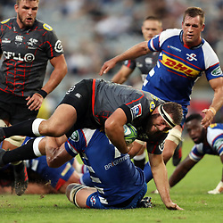 DURBAN, SOUTH AFRICA - APRIL 21: Pieter-Steph du Toit of The DHL Stormers tackling Thomas du Toit of the Cell C Sharks during the Super Rugby match between Cell C Sharks and DHL Stormers at Jonsson Kings Park on April 21, 2018 in Durban, South Africa. (Photo by Steve Haag/Gallo Images)