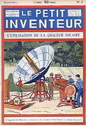 Abel Pifre's solar-powered printing press, c1894. This used Augustin Mouchot's solar engine in which a mirror focused the Sun's rays onto a small boiler (patented in 1861). From 'Le Petit Inventeur', (Paris, c1927).