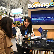 Booking.com stalls exhibition at Business Travel Show 2020 and travel technology europe on 26th February 2020, Olympia London, UK.