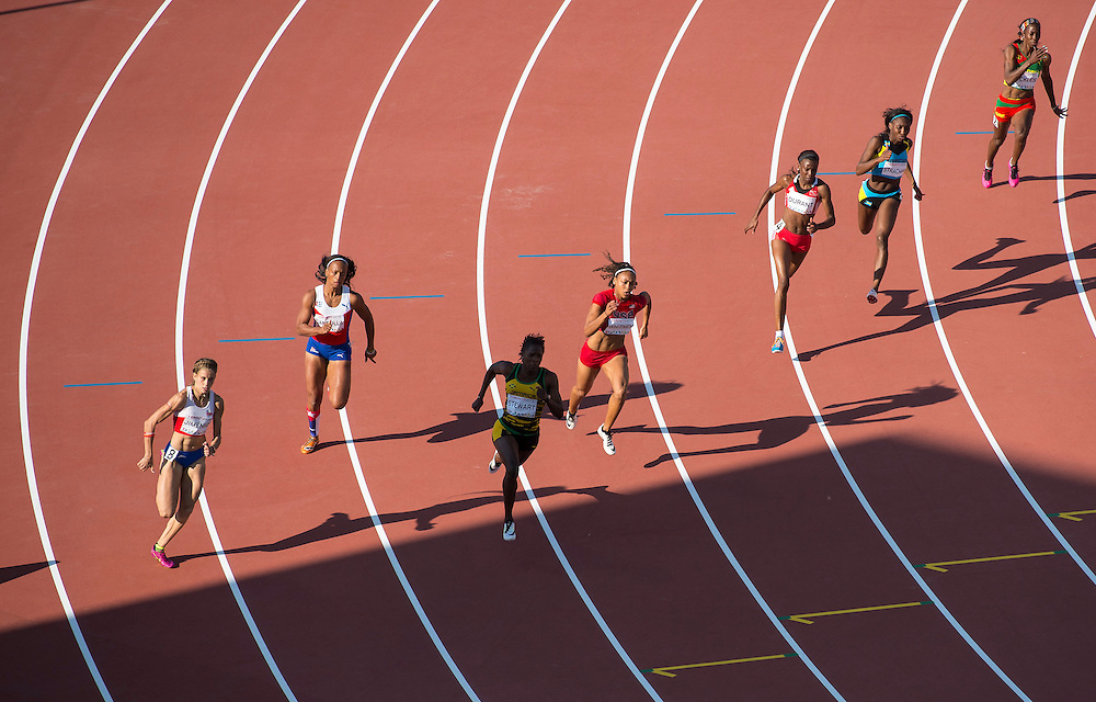 Women's 200 meter, semi-final heats, during athletics competition at the 2015 PanAm Games in Toronto.