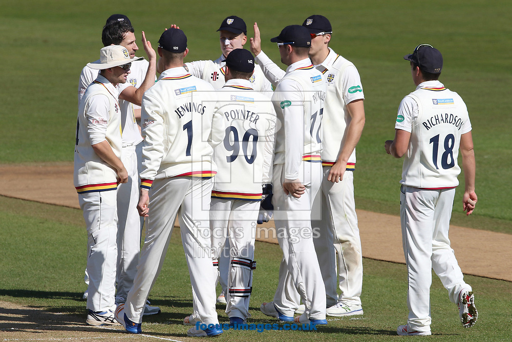 Durham celebrate the wicket of James Marshall of Durham MCC during the Friendly match at Emirates Riverside, Chester-le-Street<br /> Picture by Robert Smith/Focus Images Ltd 07837 882029<br /> 08/04/2017