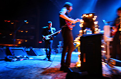 The post-punk band The Killers perform at the Hammerstein Ballroom at Manhattan Center Studios in New York, N.Y. on Oct. 24, 2008. Front to back, The Killers' Mark Stoermer, bass guitar and vocals, and Brandon Flowers, lead vocals and keyboards, perform for the crowd.