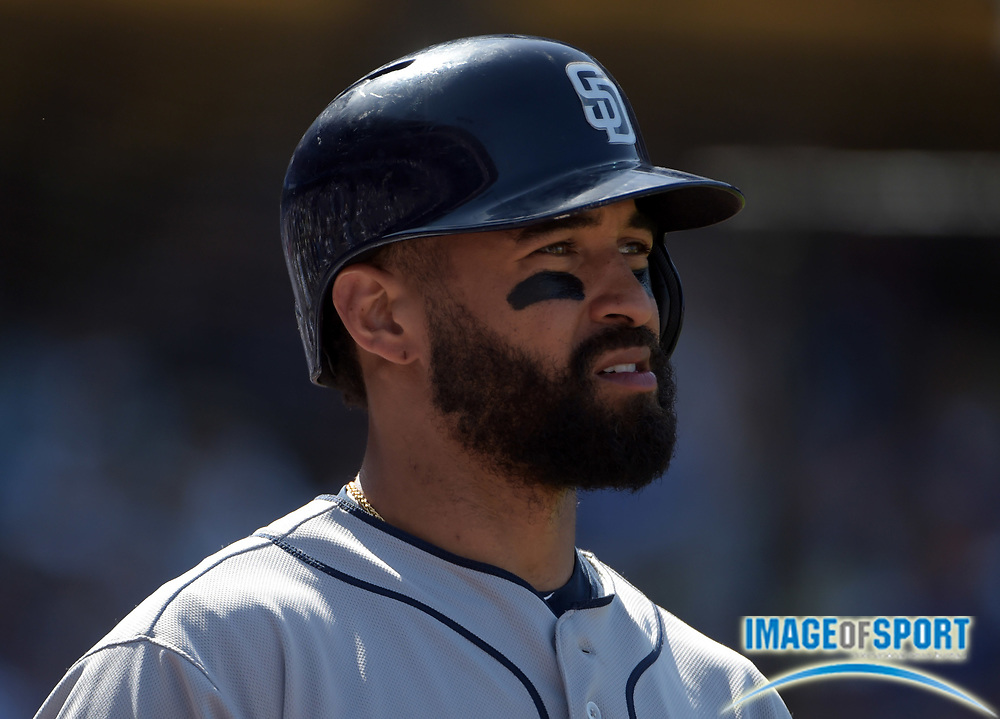 Apr 6, 2015; Los Angeles, CA, USA; San Diego Padres right fielder Matt Kemp (27) reacts against the Los Angeles Dodgers in the 2015 MLB opening day game at Dodger Stadium. The Dodgers defeated the Padres 6-3.