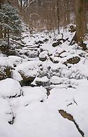 A snow-covered frozen stream in Reppischtal, Canton Zurich, Switzerland.