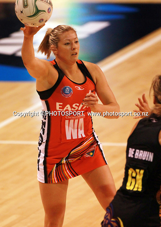 Anna Thompson with the ball for the Tactix. Canterbury Tactix vs Waikato BOP Magic in Round 8 of the ANZ Championship at CBS Canterbury Arena, Christchurch, New Zealand. Sunday 19 May 2012. Joseph Johnson/PHOTOSPORT.