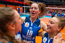 Carlijn Ghijssen-Jans #10 of Sliedrecht Sport, Ana Rekar #11 of Sliedrecht Sport celebrate in the cup final between Sliedrecht Sport and Laudame Financials VCN on February 16, 2020 in De Maaspoort in Den Bosch.