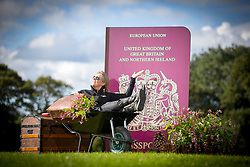 © Licensed to London News Pictures. 14/09/2017. Harrogate UK. Fiona Fisk sits in the Yorkshire Flower show's exhibition, Postcards from the Hedge on staging day at the Autumn Flower show. The exhibition is designed to highlight that every year thousands of plant cuttings, seed & bulbs find their way back to the UK in suitcases from around the world, but garden enthusiasts could get more than they bargain for if their prized new specimen turns out to be a plant thug. The Autumn Harrogate Flower show starts tomorrow at the Great Yorkshire show ground. Photo credit: Andrew McCaren/LNP
