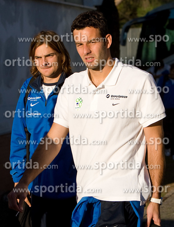 Nejc Pecnik and Samir Handanovic of Slovenian National football team at practice a day before the last 2010 FIFA Qualifications match between San Marino and Slovenia, on October 13, 2009, in Olimpico Stadium, Serravalle, San Marino.  (Photo by Vid Ponikvar / Sportida)