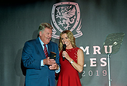 CARDIFF, WALES - Thursday, March 21, 2019: Wales' John Toshack is interviewed by host Gabby Logan after winning the Lifetime Achievement award during the Football Association of Wales Awards 2019 at the Hensol Castle. (Pic by Ian Cook/Propaganda)
