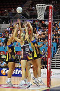Action from the Major Semi Final of the ANZ Netball Championship played between the Firebirds and the Magic at the Gold Coast Convention and Exhibition Centre on Monday 9th May 2011