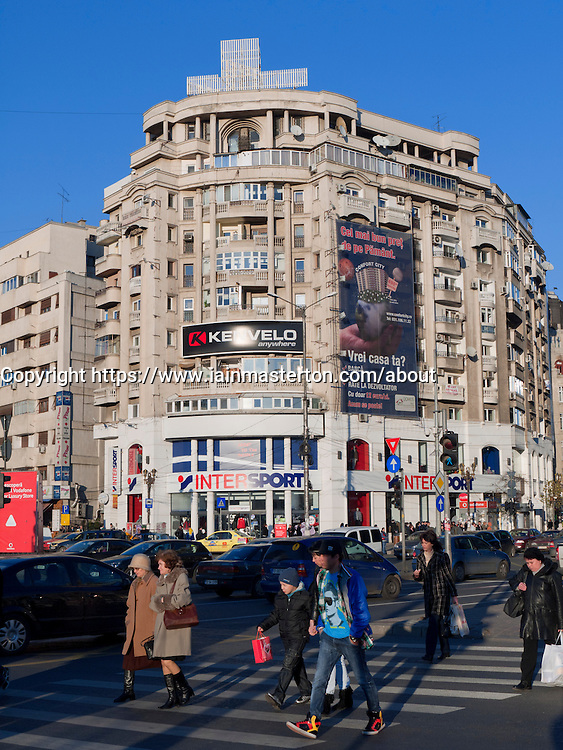 View of Unirii  Square in central Bucharest Romania