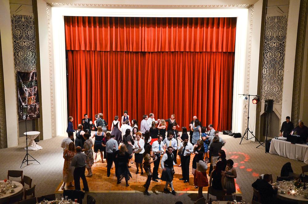 Overview of the dance floor, Kathleen & Brendan's reception, Kathleen & Brendan's guests on the dance floor, Mundelein Center, Loyola University Chicago
