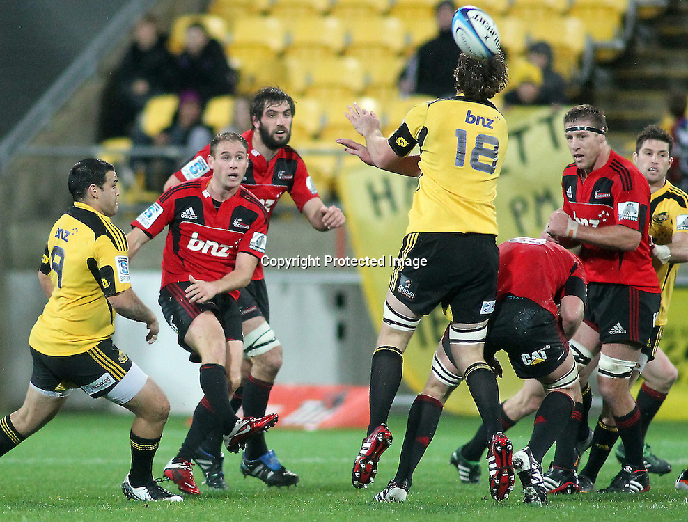 Crusader Andy Ellis kicks the ball ahead. Super Rugby - Crusaders v Hurricanes at Westpac Stadium, Wellington, New Zealand on Saturday 18th June 2011. PHOTO: Grant Down / photosport.co.nz