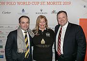 2019, Januari 24. Kulm Hotel, St Moritz. Spelerspresentatie van de Snowpolo World Cup. Op de foto: Richard Leuenberger en Melissa Ganzi