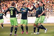 Onderwerp/Subject: Ajax - Eredivisie<br /> Reklame:  <br /> Club/Team/Country: <br /> Seizoen/Season: 2012/2013<br /> FOTO/PHOTO: Niklas MOISANDER (RR) of Ajax celebrating his goal with Christian ERIKSEN ( Christian Dannemann ERIKSEN ) (L) of Ajax and Ricardo VAN RHIJN (R) of Ajax and Lasse SCHONE (C) of Ajax. (Photo by PICS UNITED)<br /> <br /> Trefwoorden/Keywords: <br /> #02 $94 ±1355231322448 ±1355231322448<br /> Photo- & Copyrights © PICS UNITED <br /> P.O. Box 7164 - 5605 BE  EINDHOVEN (THE NETHERLANDS) <br /> Phone +31 (0)40 296 28 00 <br /> Fax +31 (0) 40 248 47 43 <br /> http://www.pics-united.com <br /> e-mail : sales@pics-united.com (If you would like to raise any issues regarding any aspects of products / service of PICS UNITED) or <br /> e-mail : sales@pics-united.com   <br /> <br /> ATTENTIE: <br /> Publicatie ook bij aanbieding door derden is slechts toegestaan na verkregen toestemming van Pics United. <br /> VOLLEDIGE NAAMSVERMELDING IS VERPLICHT! (© PICS UNITED/Naam Fotograaf, zie veld 4 van de bestandsinfo 'credits') <br /> ATTENTION:  <br /> © Pics United. Reproduction/publication of this photo by any parties is only permitted after authorisation is sought and obtained from  PICS UNITED- THE NETHERLANDS